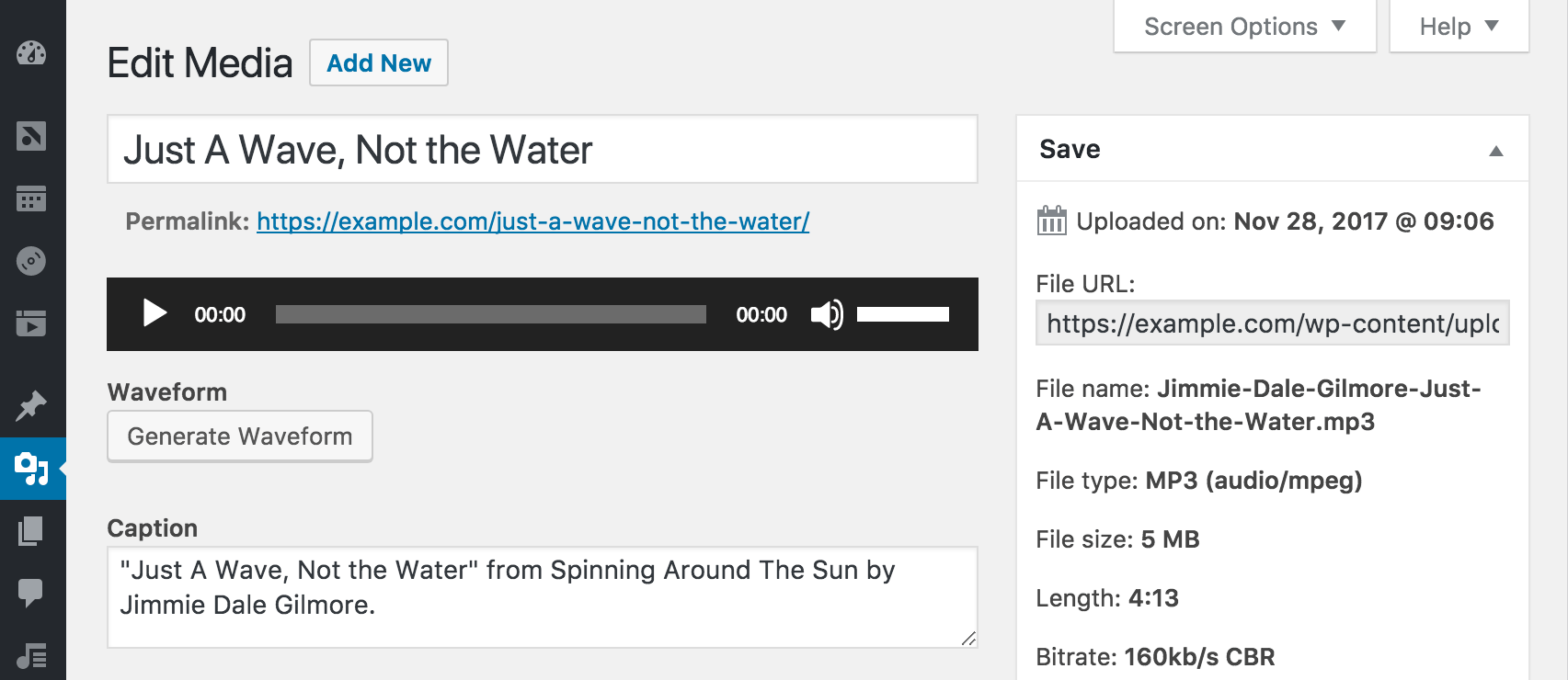 Screenshot showing a button to generate a waveform on the Edit Attachment screen in WordPress.